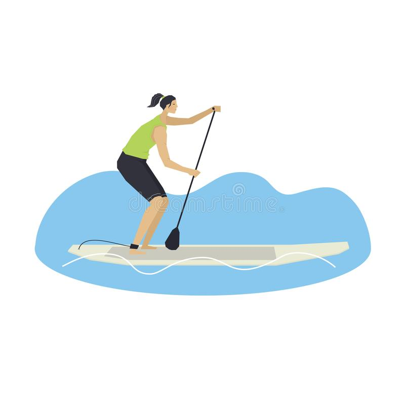Stand Up Paddle Boarding Woman on a board Vector illustration vector illustration