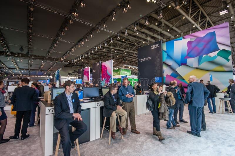 Stand von IBM-Firma an der CeBIT-Informationstechnologiemesse lizenzfreies stockbild