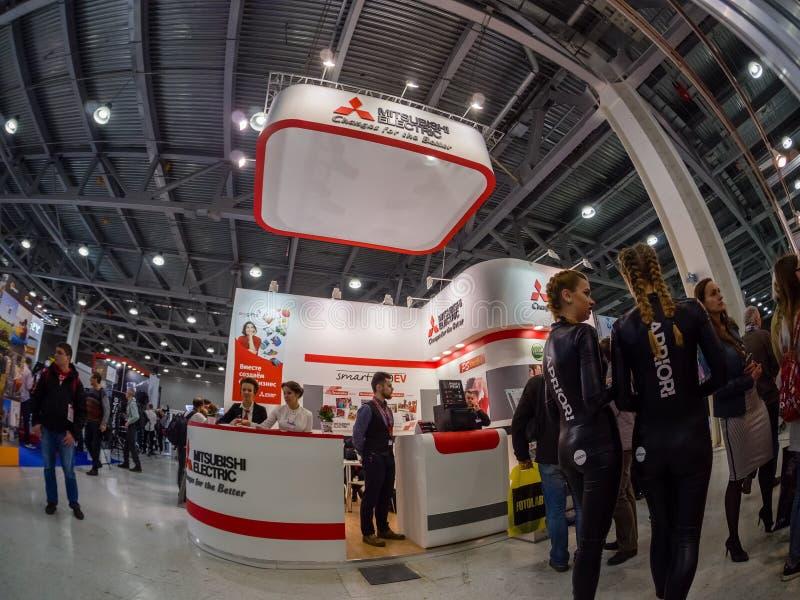 Stand von Mitsubishi- Electricfirma an Messe 2017 PhotoForum stockfoto