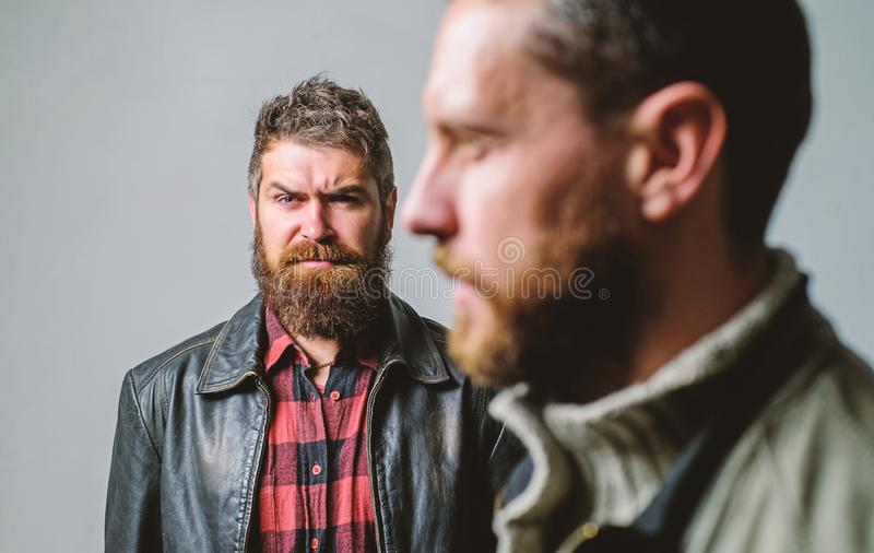Stand beside you. Friendship trust and support. Trustful relations. Someone behind you. Feel support of real friend. Man royalty free stock images