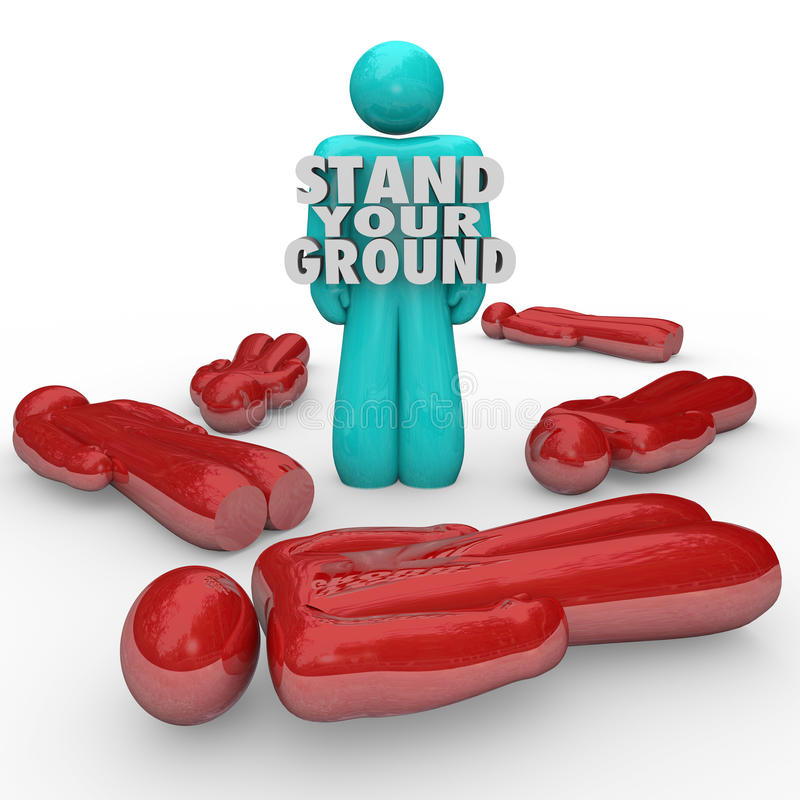 Stand Your Ground Words Person Standing Survivor Self Defense. A single person stands with words Stand Your Ground to illustrate self defense and sticking up for vector illustration
