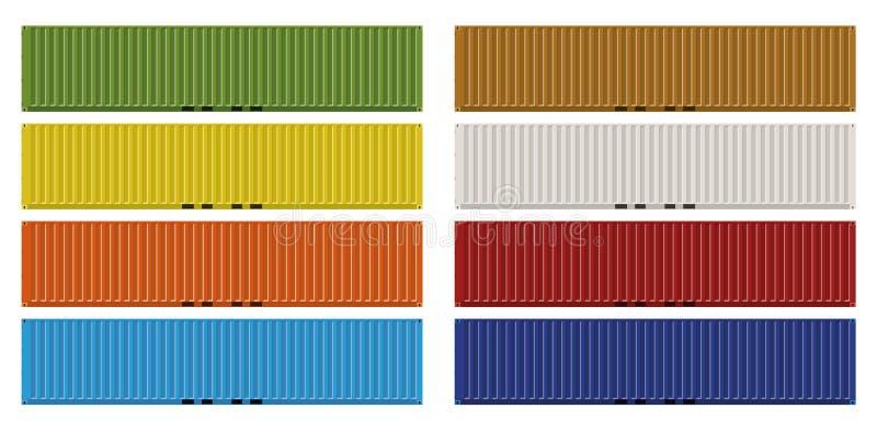 Standaard veertig van Ladingsvoeten containers stock illustratie