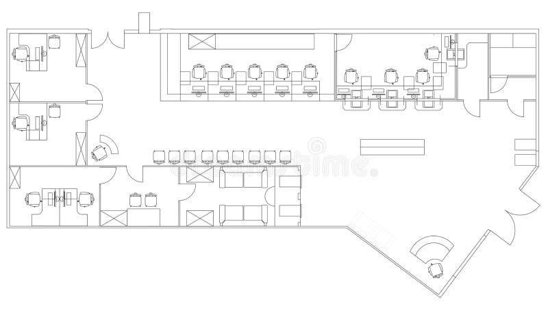 Standaarddiemeubilairsymbolen in architectuur worden gebruikt stock illustratie