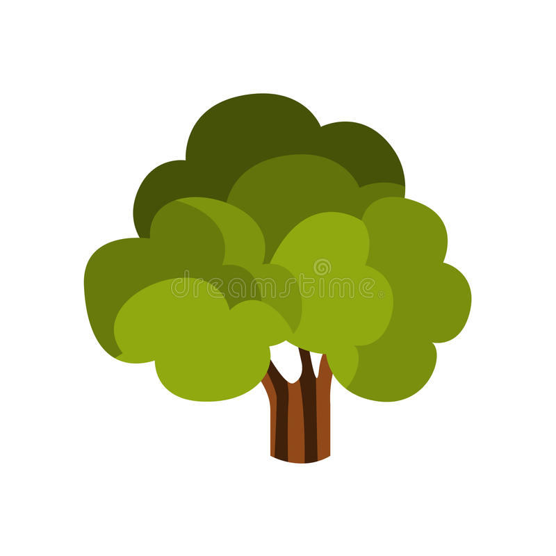 Standalone Large Tree With Green Crown, Camping And Hiking Outdoor Tourism Related Item Isolated Vector Illustration. Part Of Forest Touristic Adventures royalty free illustration