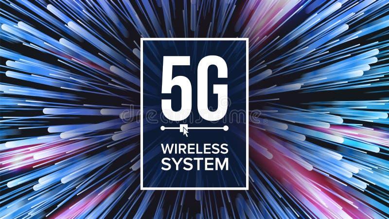 standard bakgrundsvektor för 5G Wi-Fi Fem 5th utveckling Signalöverföring snabb innovationanslutning framtid stock illustrationer