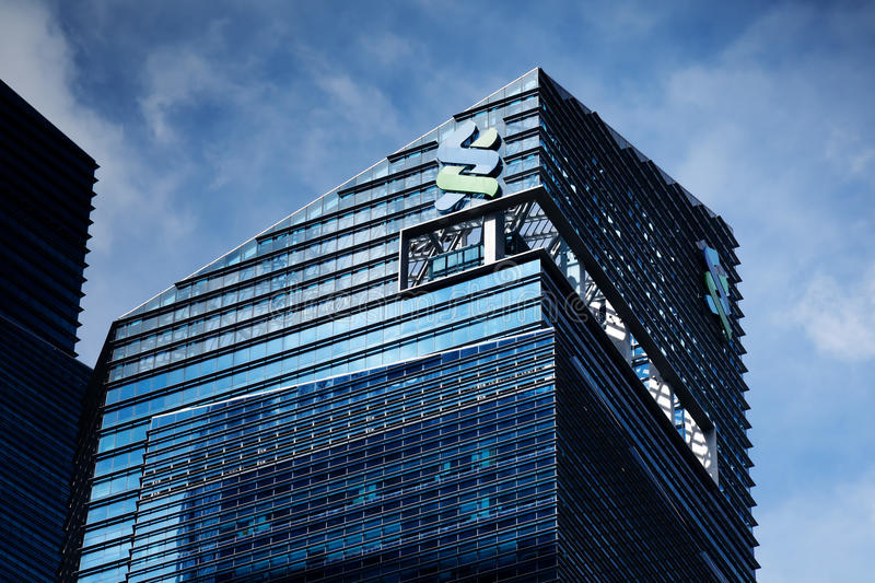 Standard Chartered Bank building. With blue sky background in Marina Bay Financial Centre, Singapore royalty free stock photos