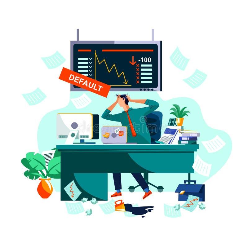 Standard eller kollaps i aktiemarknad och utbyte stock illustrationer