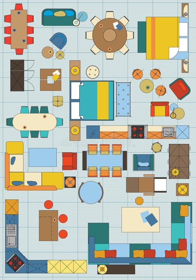 Standard Furniture Symbols Used In Architecture Stock Vector