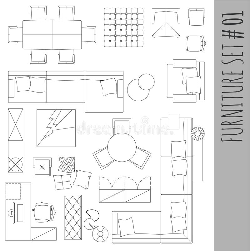 standard furniture symbols used in architecture stock vector image 67605218. Black Bedroom Furniture Sets. Home Design Ideas