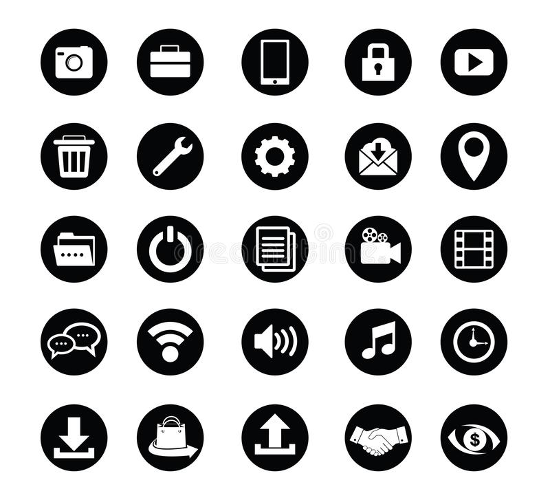 Standard icon set vector for web design and application. Multimedia and office standard icon set vector for web design and application stock illustration