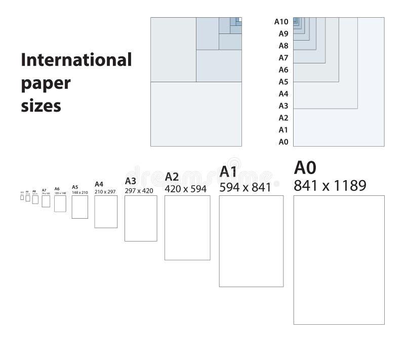 Standard internacional de tamanhos do papel para imprimir ilustração stock