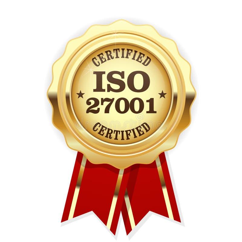 Standard ISO 27001 bestätigte Rosette - Informationssicherheit mana lizenzfreie abbildung