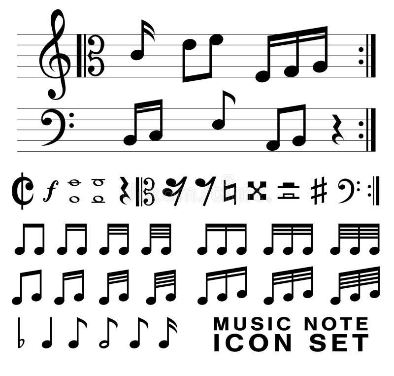 Standard musik noterar vektorn eps10 för symboluppsättningen stock illustrationer