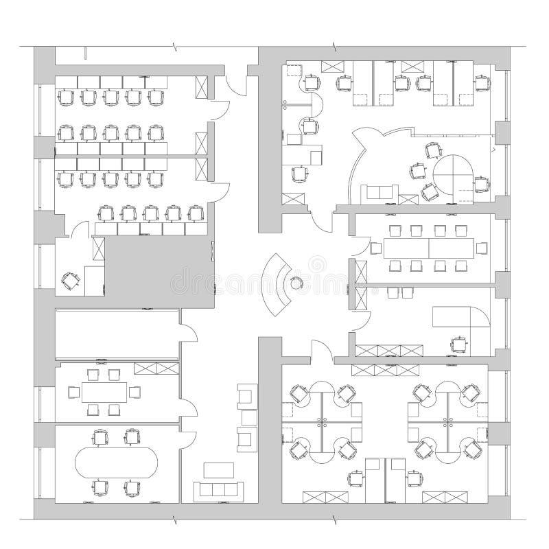 Standard Office Furniture Symbols On Floor Plans Stock Vector Illustration Of Chair House 71983544