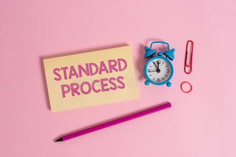 Standard process f?r ordhandstiltext Affärsidé för färgrika regler som göras för att matchas med kvalitet för sista produkt royaltyfria bilder