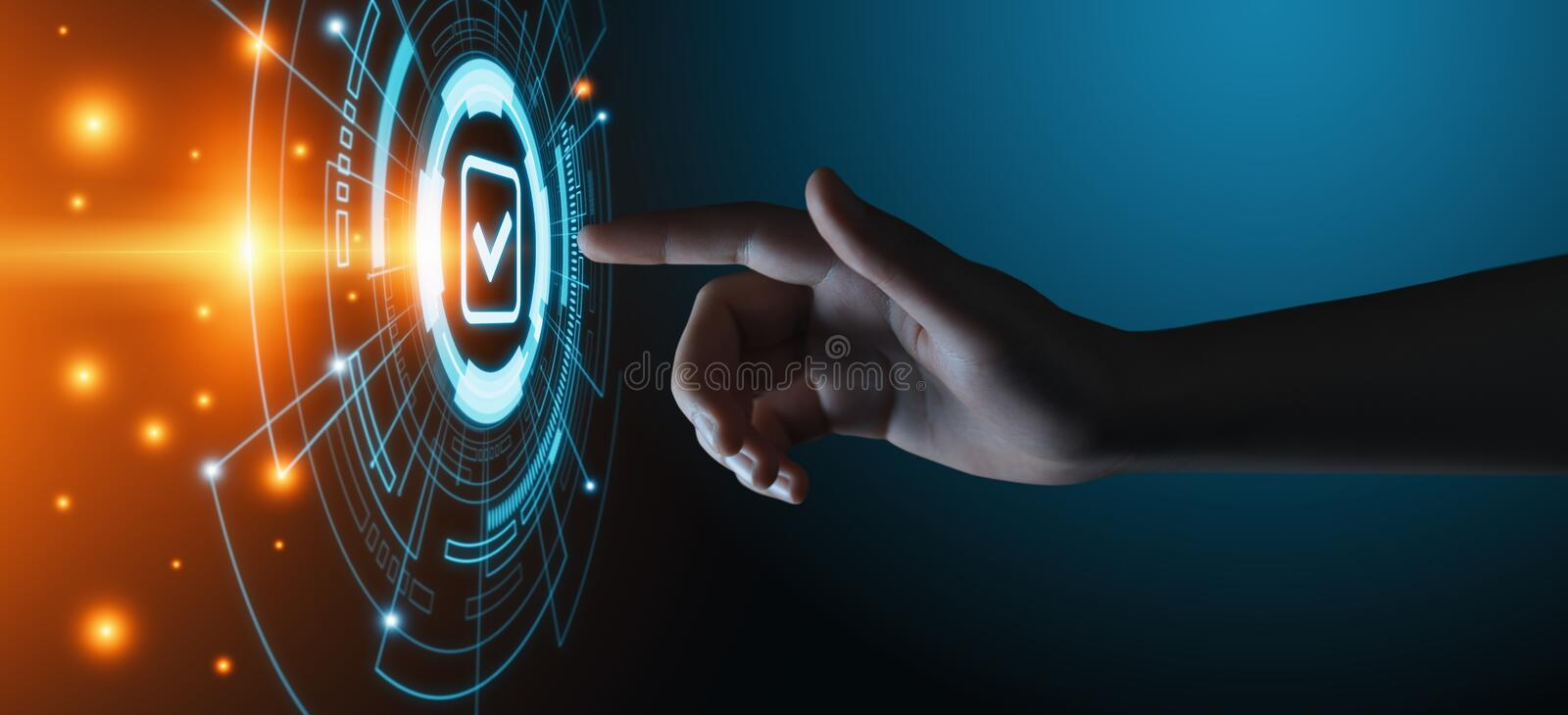 Standard Quality Control Certification Assurance Guarantee Internet Business Technology Concept stock images
