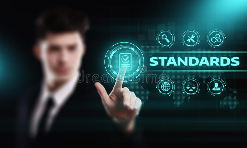 Standard Quality Control Certification Assurance Guarantee Internet Business Technology Concept stock photography