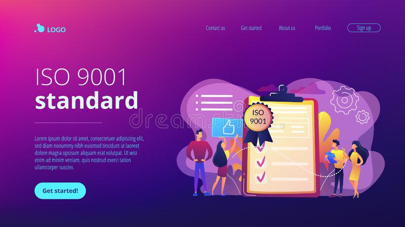 Standard for quality control concept landing page. Tiny business people like standard for quality control. Standard for quality control, ISO 9001 standard stock illustration
