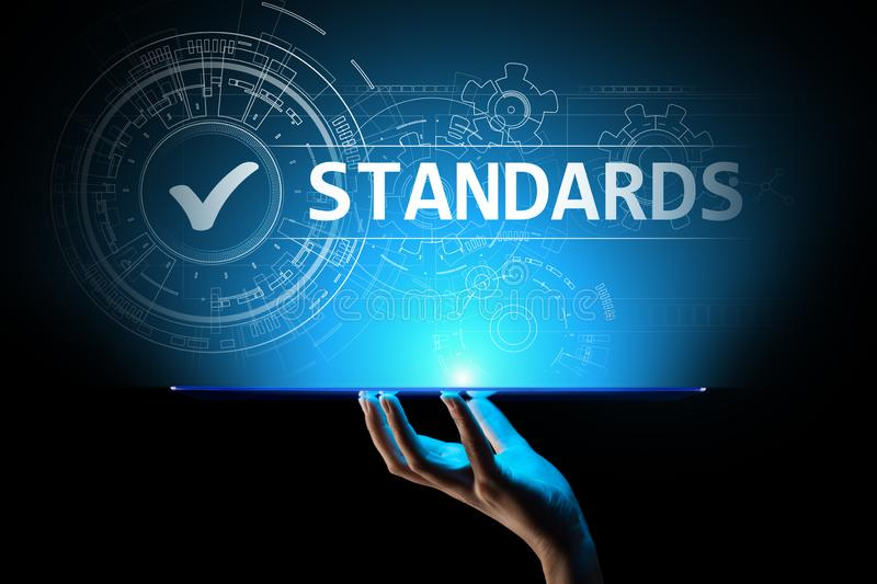 Standard. Quality control. ISO certification, assurance and guarantee. Internet business technology concept. stock photos