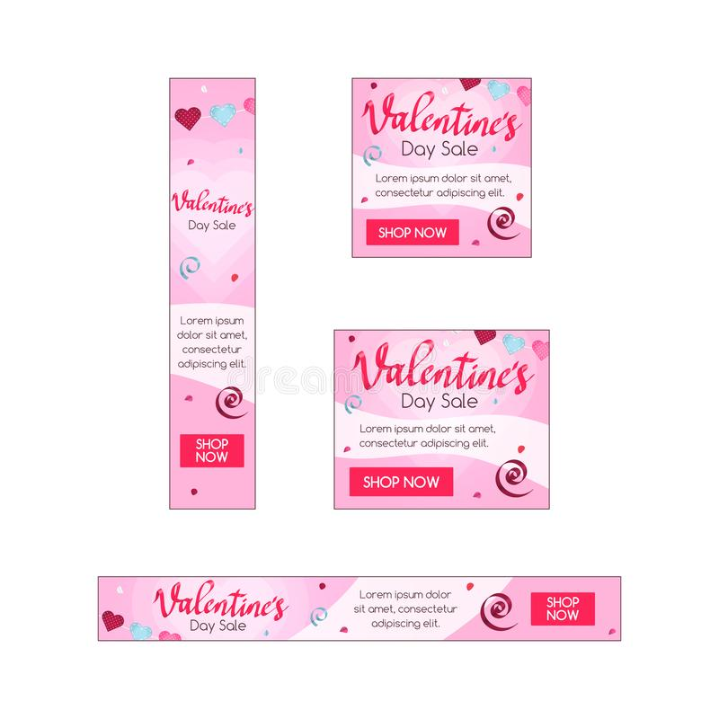 4 standard size Valentine`s day sale banners with place for your content vector illustration