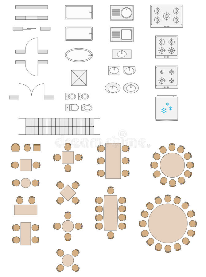 Standard Symbols Used In Architecture Plans royalty free stock photos