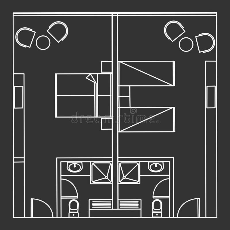 Standard Twin And Double Hotel Room royalty free illustration