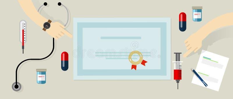 Standarda medicinska apparater för auktoriserad revisor och personutbildning i hälsovårdsjukhusskyddsremsa på papper stock illustrationer