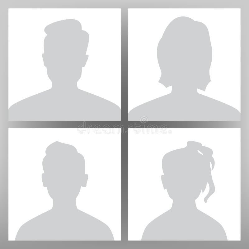 StandardAvatarvektor Placeholderuppsättning Man kvinna, tonårig pojke för barn, flicka Användarebildhuvud Anonym huvudframsida mi vektor illustrationer