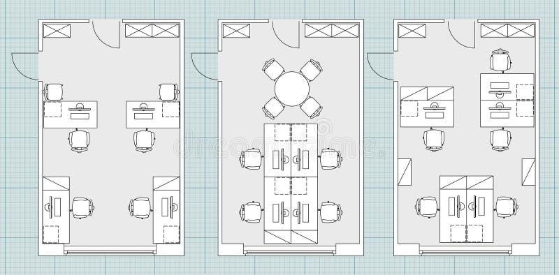 Standardbüromöbelsymbole auf Grundrissen lizenzfreie abbildung