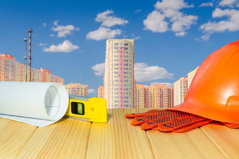 Standardbausicherheit, errichtender Schutz und Werkzeuge lizenzfreie stockfotografie