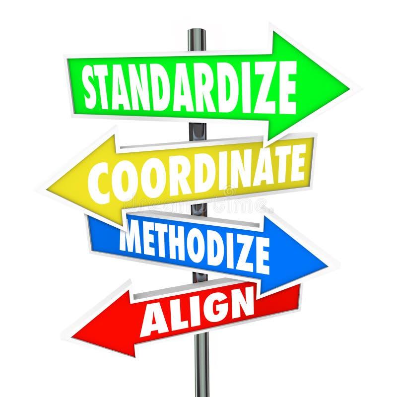 Standardisieren Sie beigeordnetes methodisch ordnen ausrichten Pfeil-Zeichen stock abbildung
