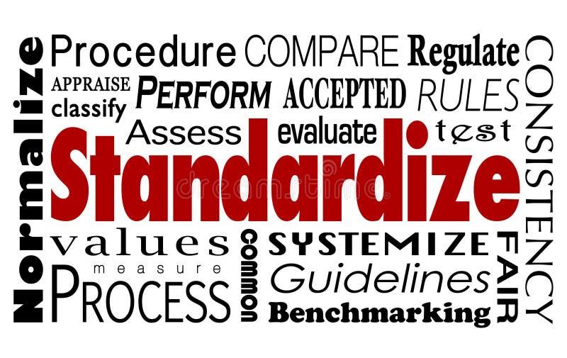 Standardize Word Collage Measure Consistent Process stock photos
