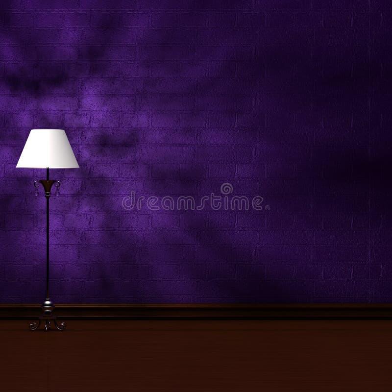 Standardlampe im dunklen unbedeutenden Innenraum vektor abbildung