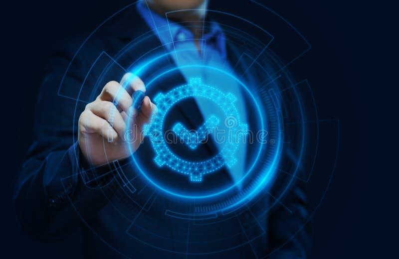Standardqualitätssteuerbescheinigungs-Versicherungs-Garantie-Internet-Geschäfts-Technologie-Konzept lizenzfreies stockfoto