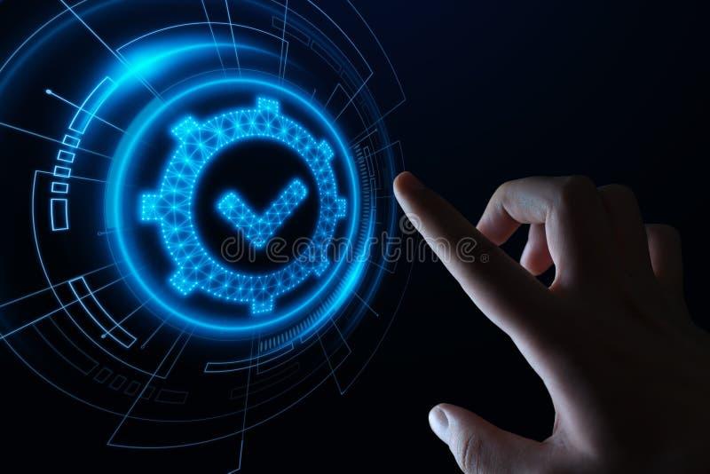 Standardqualitätssteuerbescheinigungs-Versicherungs-Garantie-Internet-Geschäfts-Technologie-Konzept lizenzfreie stockfotos