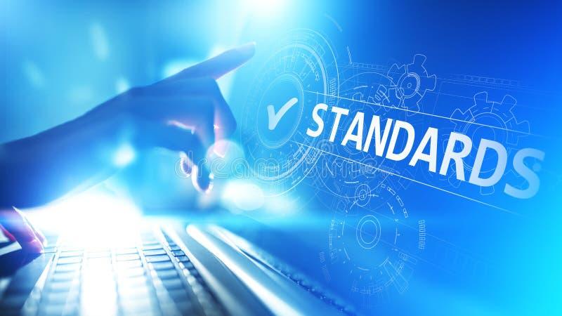 standardt Kvalitets- kontrollera Iso-attestering, försäkring och garanti Begrepp för internetaffärsteknologi arkivbilder