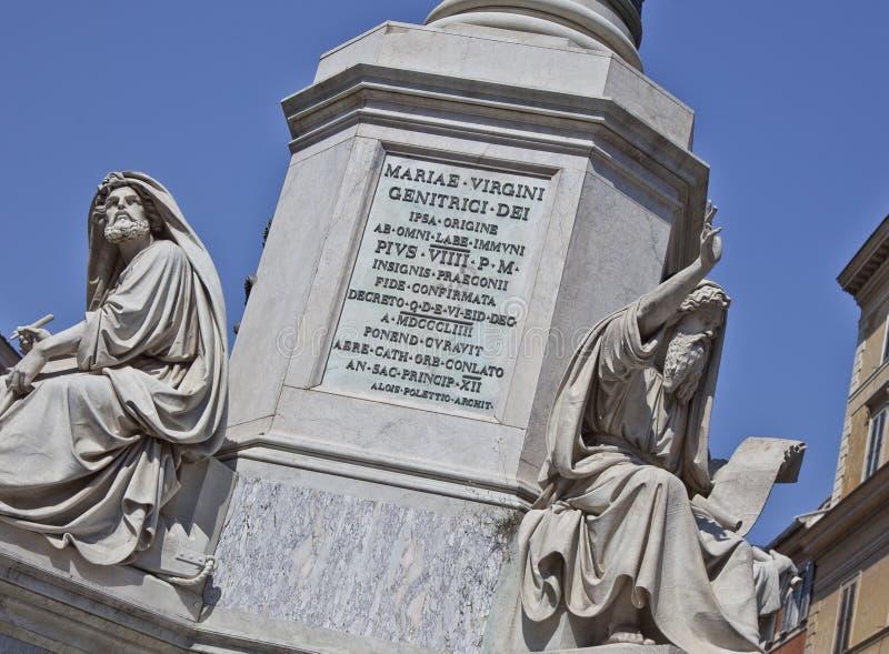Standbeeld aan de Onbevlekte Ontvangenis, Rome, Italië royalty-vrije stock fotografie
