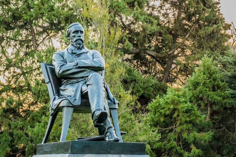 Standbeeld, beeldhouwwerk, botanische tuin, Christchurch stock fotografie