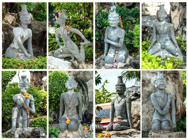 Standbeeld bij wat po Bangkok Thailand stock afbeeldingen