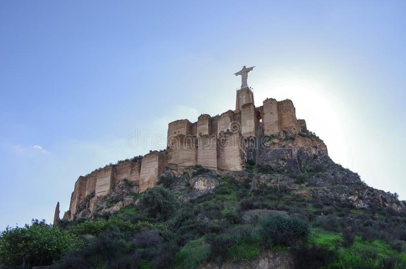 Standbeeld Christus Castillo DE Monteagudo, middeleeuws kasteel, Murcia, S royalty-vrije stock afbeelding