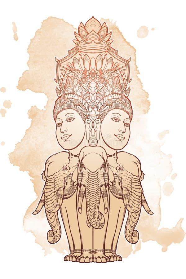 Standbeeld die Trimurti vertegenwoordigen - drievuldigheid van Hindoese goden Brahma, Vishnu en Shiva, die op drie olifanten zitt royalty-vrije illustratie