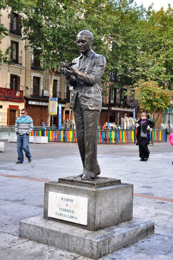 Standbeeld Federico GarcÃa Lorca in Madrid stock afbeelding