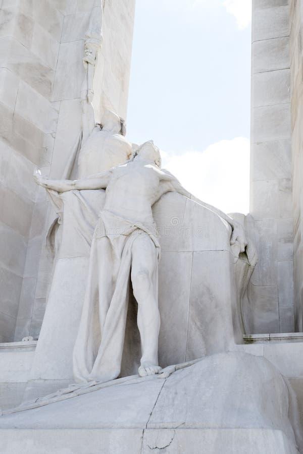 Standbeeld op Vimy Ridge Memorial, Frankrijk stock foto's