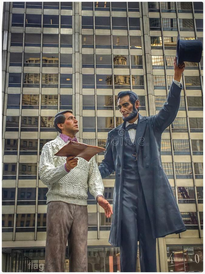 Standbeeld van Abraham Lincoln met & x22; Everyman& x22; in Chicago royalty-vrije stock foto's