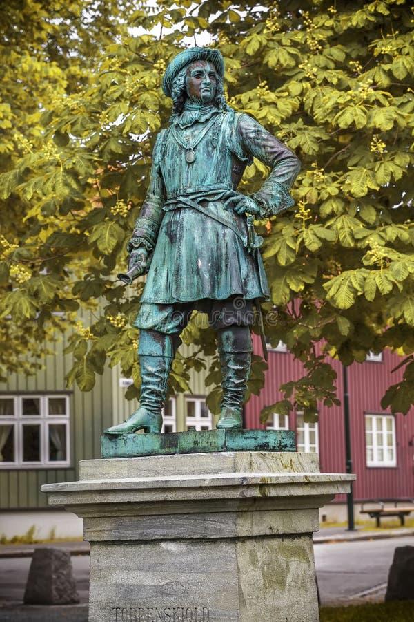 Standbeeld van Admiraal Peter Tordenskjold in Trondheim, Noorwegen stock foto