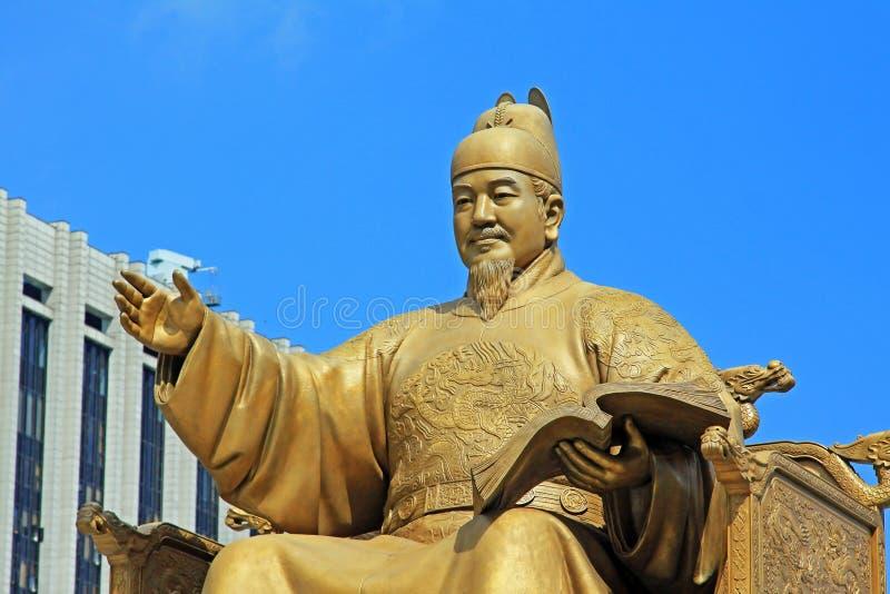 Standbeeld van Admiraal Yi Sun-Shin, Seoel, Korea royalty-vrije stock fotografie