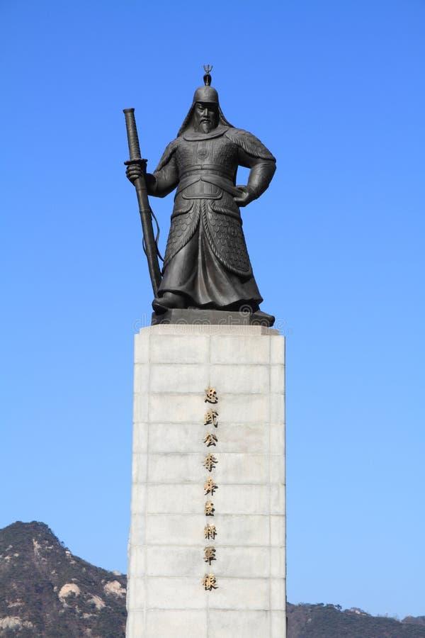 Standbeeld van Admiraal Yi Sun-Sin stock afbeeldingen