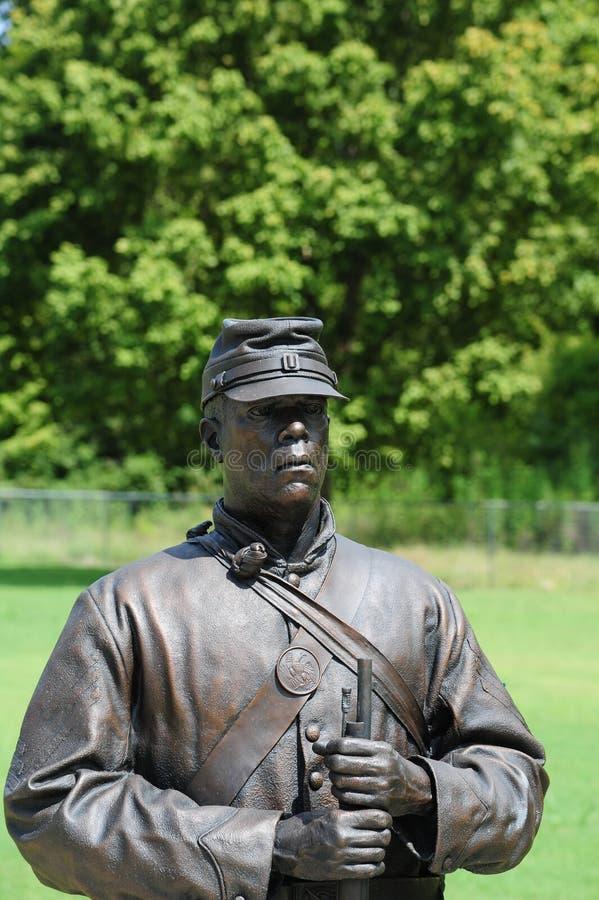 Standbeeld van Afrikaanse Amerikaanse Unie Solider bij het Vrijheidspark, Helena Arkansas royalty-vrije stock afbeeldingen