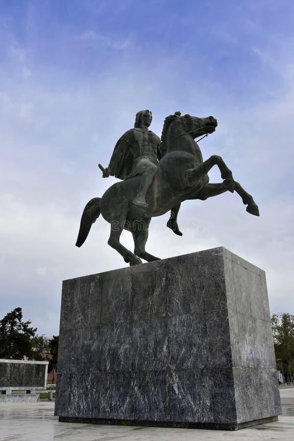 Standbeeld van Alexander The Great, Thessaloniki, royalty-vrije stock foto's