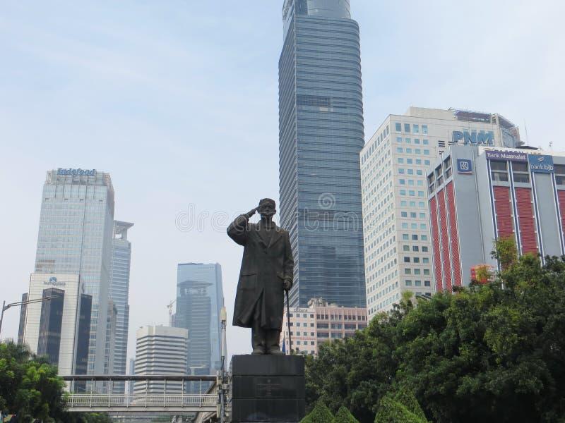 Standbeeld van Algemene Sudirman in Djakarta stock afbeelding